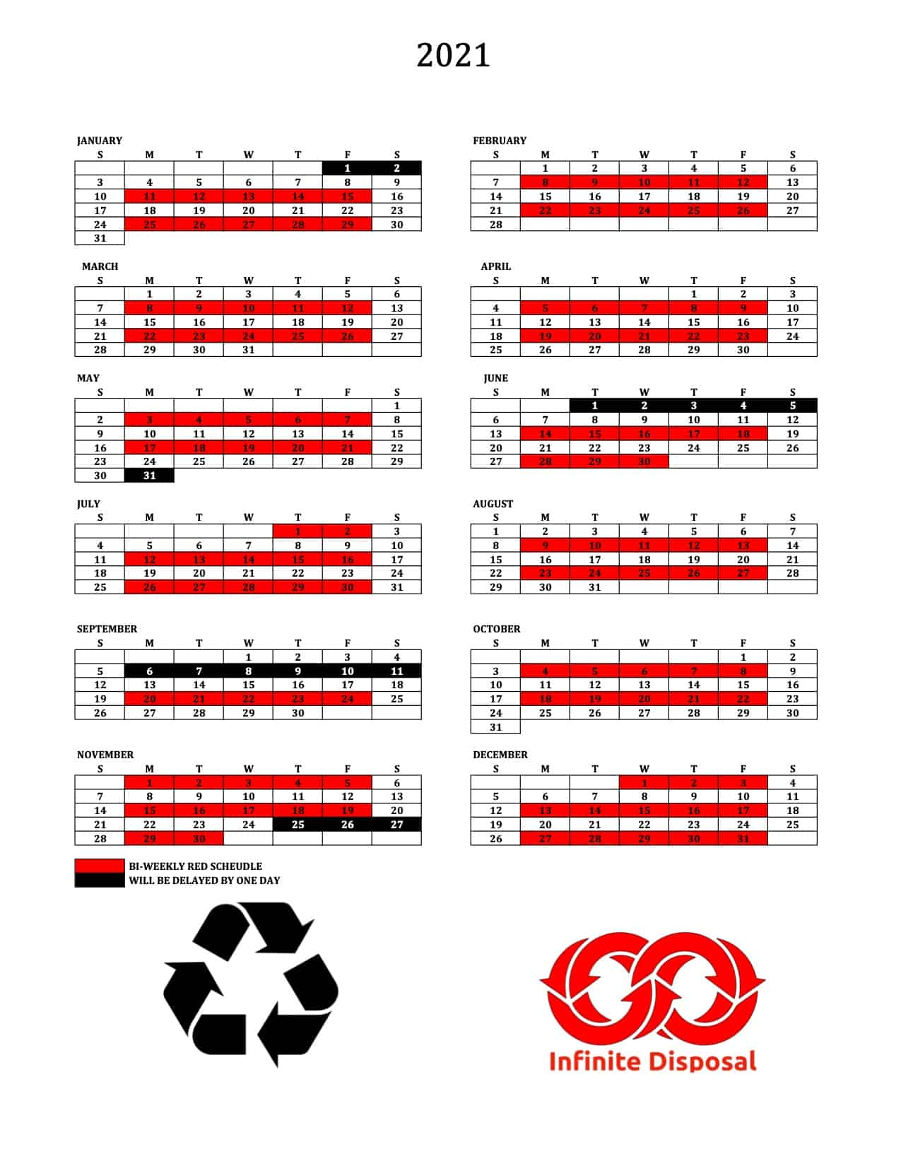 Ask office if you are white or red week recycling